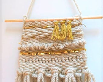 Weaving wall wall hanging beige and gold