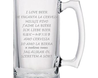 I Love Beer - Beer Mug, Beer Gifts, Gift Idea For Beer Lovers, Dad Gifts, Man Gifts, Fathers Day Gift | Beer Mug | Beer Stein
