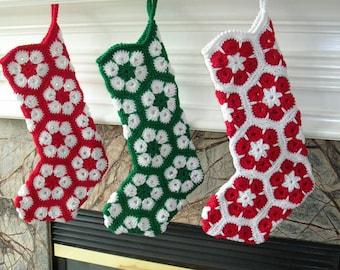 Crochet de bas - africains fleur Crochet bas de Noël fait à la main - Crochet bas - bas de Noël au Crochet