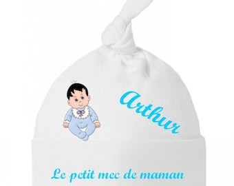 Baby boy MOM personalized with name bow Hat