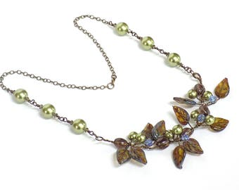 Necklaces for Women Flower Necklace Statement Necklace Bib Gemstone Necklace Beaded Necklace Handmade Nature Jewelry for a Gift