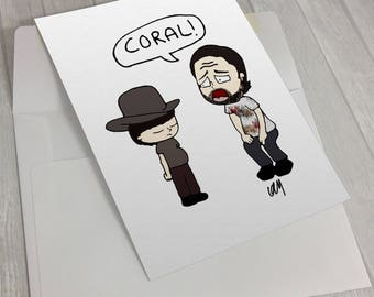 the walking dead, coral, rick grimes, greeting card, blank card, birthday card, thank you card
