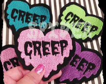 Creep into my Heart Iron on Patch  Embroidered Embroidery  Spooky Patches Iron on Patch Love