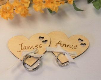 Set of 2, Ring Holders, Ring Pillow Alternative, Personalized Hearts, Ring Pillows, Wedding Rings, Wooden, Wedding Keepsake, Ring Bearer