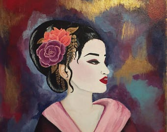 Geisha painting on canvas