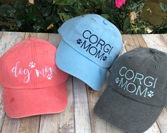 Dog Mom Hat with Paw Prints | Dog Mom Baseball Cap | Custom Dog Lover Gift | Corgi | Golden | Lab | Personalized Gifts by Three Spoiled Dogs