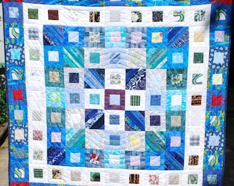 blue and white geometric lap, crib or wallhanging quilt