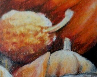 original art  aceo drawing fall gourds pumpkin