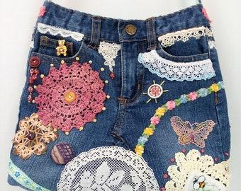 Shoulder Bag Denim & Doily Collage Sling Bag Small Upcycled Toddler Jeans Crossbody Bag RSB6-30