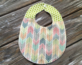 ORGANIC Bib ~ Two Toned/Quilted ~ Woodland//Geo//Tribal//Forest//Dots//Herringbone//Multi//Quills