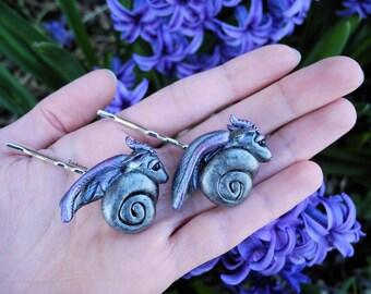 Polymer Clay Dragon Hair Pins, Swirled Amethyst