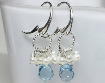 Topaz Earrings, Sterling Silver, Sky Blue Topaz, White FWP, Leverback, Faceted Teardrop Briolettes, Long, Dangle, Twisted Ring, Wire Wrap