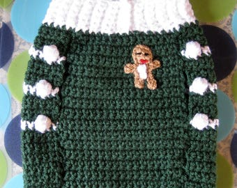 Size S - Dog Sweater Vest - Ginger Snap Christmas - Evergreen - Ready to Ship Today
