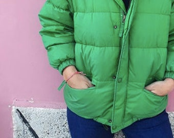 Vintage 80s Green Puffer Down Bomber Jacket