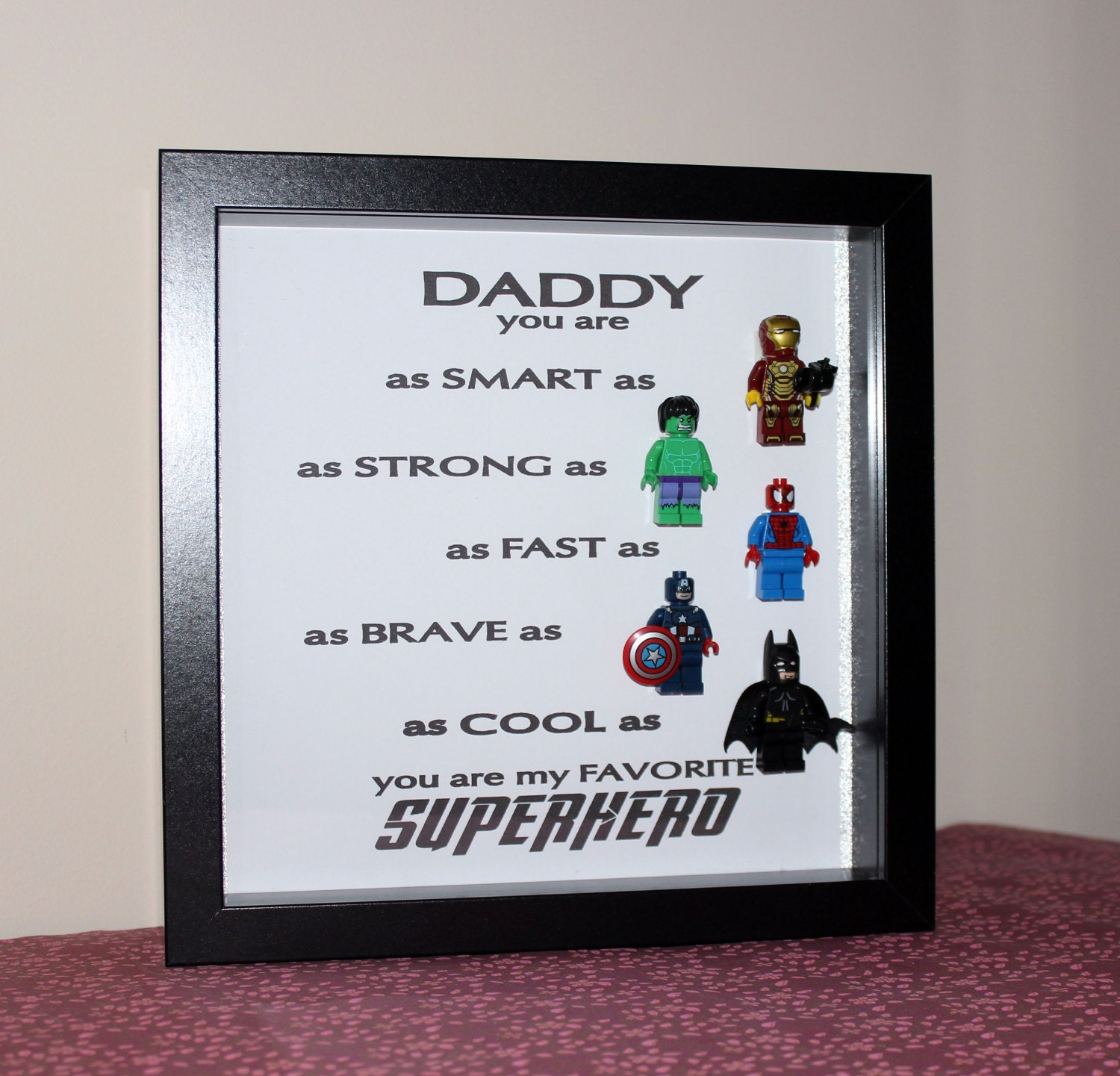Daddy you are my Superhero Lego Minifigure Wall Boxed frame