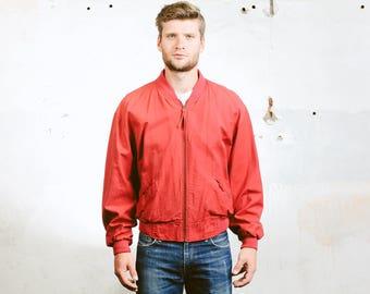 Men's BOMBER Jacket . Vintage 90s Red Aviator Flight Jacket Lightweight Coat 90s Grunge Outerwear . size Medium M