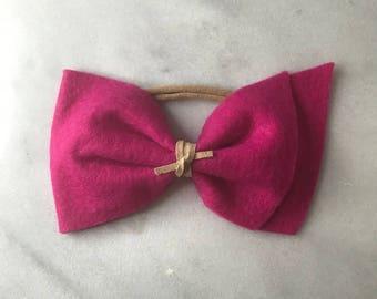 Hot Pink Felt Bow
