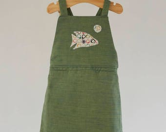 Pinafore dress with applique fish
