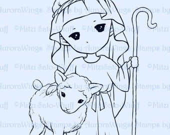 Digital Stamp - Little Shepherd - Instant Download - Christmas Digi - Whimsical Holiday Line Art for Cards & Crafts by Mitzi Sato-Wiuff