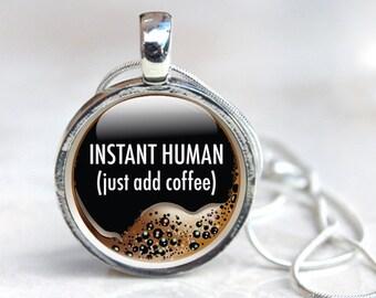 Coffee Necklace, Coffee Glass Pendant, Coffee Gifts, Coffee Pendant Necklace (coffee 5)