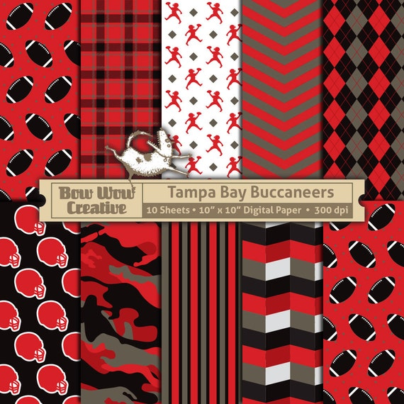 10 Tampa Bay Buccaneers Digital Papers For Scrapbooking