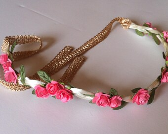 Pink Rose with Leaves Flower Crown