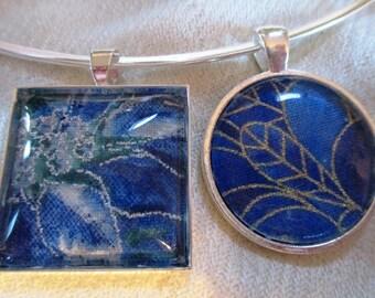 Beautiful Blues Fabric Pendant