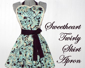 Aqua Swirl Twirly Skirt Apron, sweetheart neckline, flirty pin up apron, photo prop, diner apron, Mother's Day gift ready to ship today