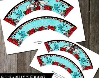 Rockabilly Cupcake Wrapeprs | Tattoo Party Printable | Cupcake Wrap Digital Printable files | DIY Party