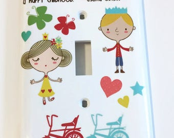 Childrens Light Switch Cover, Unisex, Bicycles, Butterflies, Hearts, Stars, Childrens Saying, Childs Gift, Birthday gift