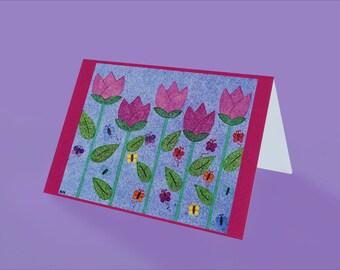 Tulip Fields - Thinking of you - Original Art by Emily Kim -