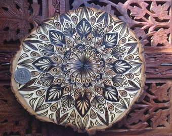 "8.5"" Wood Burned Mandala Slice - Handmade Wall Hanging, Sacred Geometry Art, Bohemian Wall Art"
