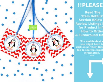 Penguin Favor Tags - Boy Penguin Thank You Tags -  Chevron Favor Tags - Penguin Gift Tags - Digital or Printed Tags Available