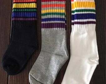 Thick stripe rainbow socks
