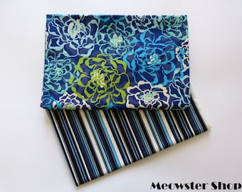 Fabric 100% Cotton - Ocean Flowers & Navy Stripes - Width 150cm