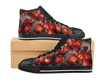 Red And Black Womens Shoes Cactus Flowers WomenS HighTop Sneakers Desert Bloom Retro Style Canvas Shoes Canvas Sneakers Flo
