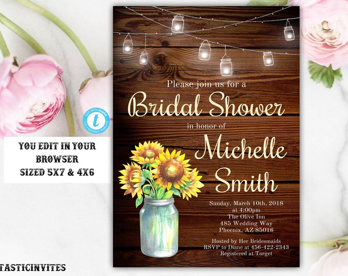 Sunflowers Bridal Shower Invitation Template, Rustic Bridal Shower Invitation, Country Invitation, Template, Editable, Printable, Sunflower