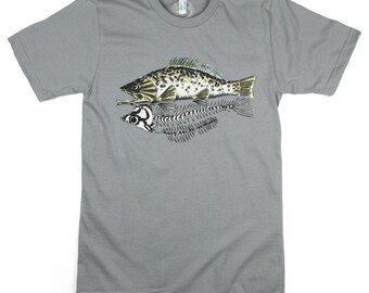Skeleton Fish: ORGANIC Cotton American Apparel Mens Tee