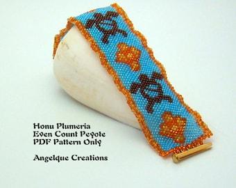 Honu Plumeria Flower DIY PDF Even Count Peyote Pattern, aqua, blue, orange, yellow, bronze