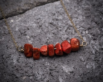 Coral necklace, natural red coral necklace, bar necklace, dainty necklace, gold bar necklace, simple necklace, gift under 50.