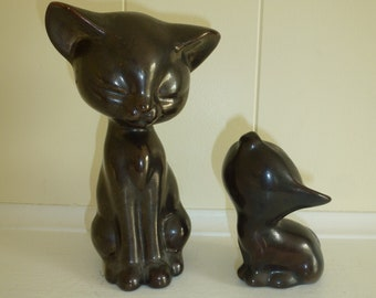 Black Mod Funky Cat Figures Cat Sculpture MCM Collectibles Kitschy Cat Kitten Baby and Mom Cat