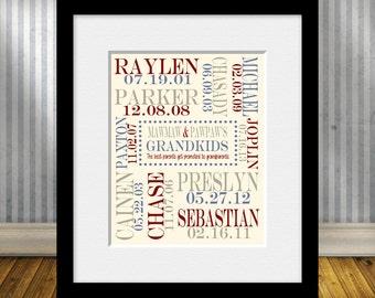 SPECIAL OCCASION Gift for Grandparent, Grandparent Gift, Grandchildren Name and Birthdate Print, Christmas Gift for Grandparents,