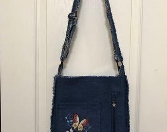Denim over the shoulder cross body purse