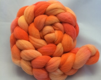 Hand Dyed Roving - Dreamsicle - 4 oz - 100% Merino