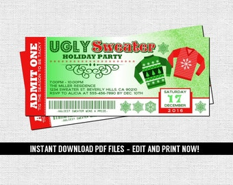 Ugly Sweater Party Ticket Invitations Christmas Holiday - (Instant Download) Editable and Printable PDF Files