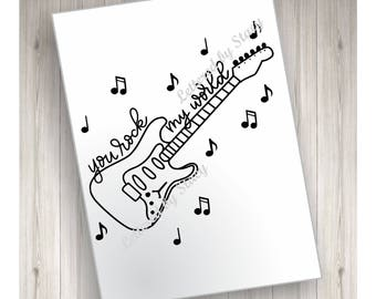 You rock my world card printable greeting card, black and white card, cute card, digital download with printable envelope template