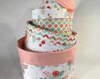 Fabric Bin Set, Nursery Fabric Bins, Fabric Caddies, Baby Gift, Girl Nursery Bins, Nursery Storage Baskets, Storage Bins for Girl, Floral