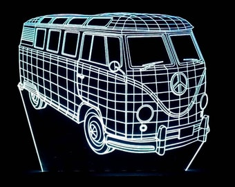 3D illusion WV Van Kombi Acrylic Leds Sign Laser Engraved  USB Desk Model - Multiple Colors  Remote Control - 6 inches wide fast shipping 06