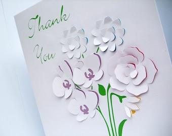 Large personalised teachers christmas card paper handmade large personalised card with paper cut flowers teachers thank you card personalised birthday card bookmarktalkfo Images