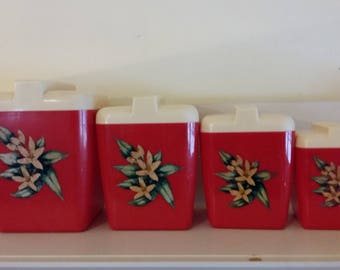 Vintage 1950s Kitchen Canister Red Set of 4 Flour Sugar Coffee Tea Hard Plastic Floral Theme